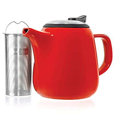 Tealyra - Daze Ceramic Teapot in Red - 27-ounce (2-3 cups) - Small Stylish Ceramic Teapot with Stainless Steel Lid and Extra-Fine Infuser To Brew Loose Leaf Tea