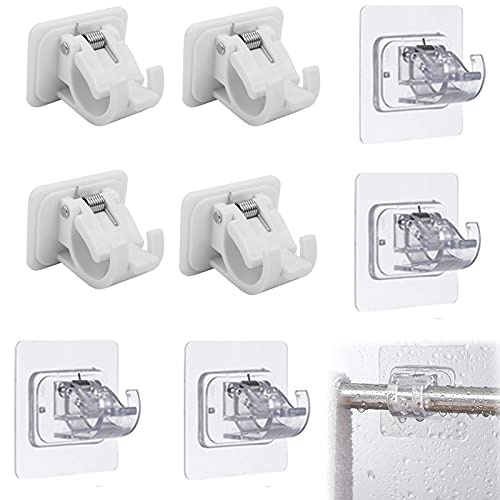 8Pieces No Drill Curtain Rod Brackets, Adhesive Curtain Rod Holder, No Nail Easy Hang Curtain Brackets, Drapery Hook Fixing Rod Holder Curtain Pole Wall Brackets Towel Rod Hooks for Home Hotel Use
