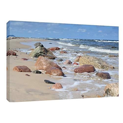 Modern Picture Leinwandbild Leinwanddruck Ostsee Meer Strand Steine 40 x 30 cm