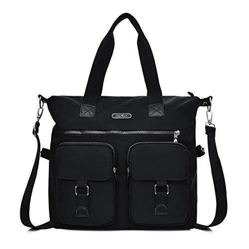 Mfeo Women's Large Multi Pockets Nylon Tote Crossbody Shoudler Work Bag Handbags (Black)