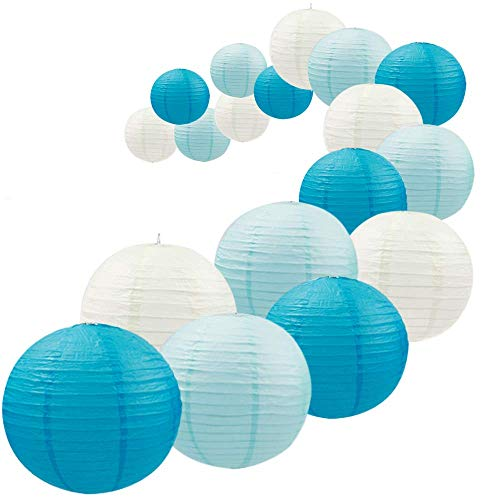 UNIQOOO 18Pcs Royal Blue Paper Lantern Set,5 Assorted Size,Reusable Hanging Decorative Japanese Chinese Paper Lanterns,Easy Assembly,for Birthday Wedding Baby Shower Christmas Party Decor Supplies