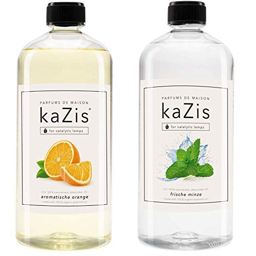 KAZIS I Duft-Set I Passend für alle katalytischen Lampen I Minze + Orange I 2 x1 Liter I Nachfüll-Öl I 2 x 1000 ml I 2 x 1 Liter