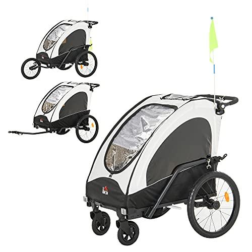 HOMCOM 3 in 1 Kinderanhänger Aluminium Kinder Jogger Fahrradanhänger Radanhänger für 2 kinder mit Fahne Weiß+Schwarz
