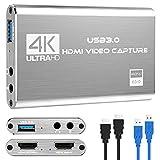 Tarjeta de Captura de Video y Audio Rybozen 4K, Dispositivo de Captura de Video HDMI USB 3.0, Full HD 1080P para grabación de Juegos, transmisión de transmisión en Vivo, Plateado