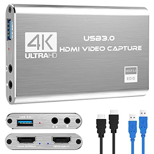 Rybozen Scheda di acquisizione video audio 4K, dispositivo di acquisizione video HDMI USB 3.0, Full HD 1080P per la registrazione di giochi, trasmissione in streaming live-argento