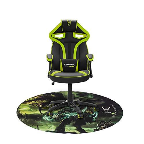 Woxter Stinger Station Alien V2.0 Green - Silla gaming con eje de acero + Alfombrilla Gaming de suelo