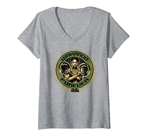 Womens Marvel Black Panther Nakia Wakanda Forever Celtic Frame V-Neck T-Shirt