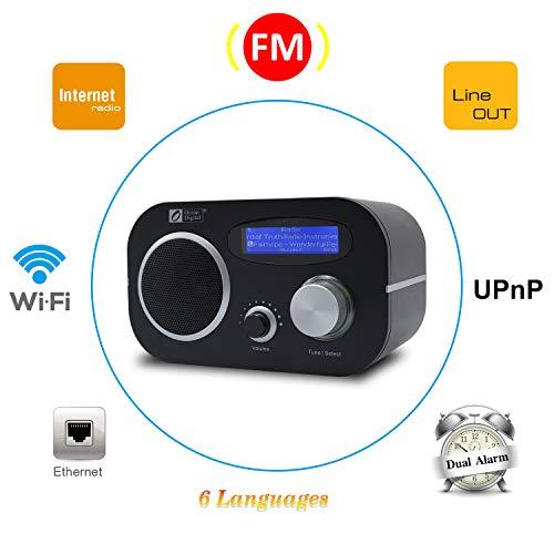 Ocean Digital WiFi/ FM Internet Radio WR80 WLAN/LAN Ethernet Wake-up Function Table Radio - Black