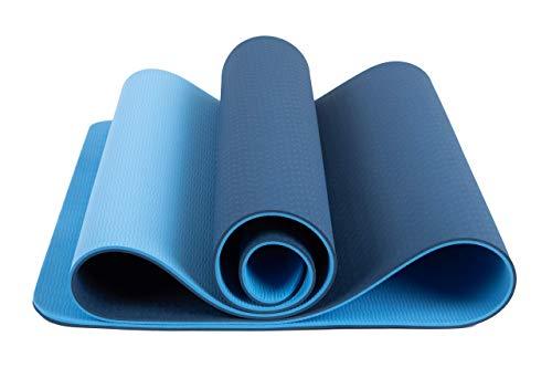 FCMASTERTRADE Tappetino Yoga di TPE Imbottito e Antiscivolo per Fitness,Crossfit, Pilates, Ginnastica e Addominali, Yoga Mats con Laccio in Omaggio, di 183 x 61 cm Spessore 0.6mm Bicolore Blu