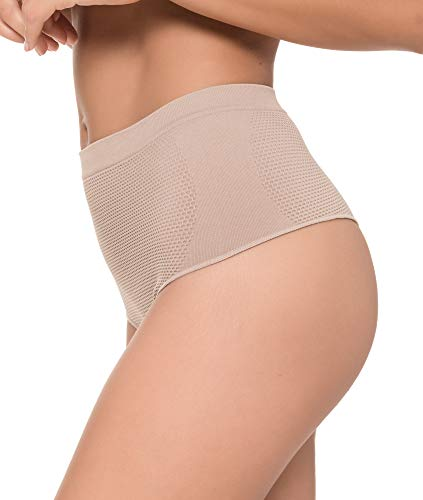 Channo Tanga Faja Reducción Ligera de Abdomen Mujer Sin Costuras Lycra. Braga Tanga Moldeador. (Vison, L/XL)