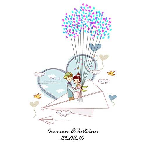 Bruiloft Getuige Decor Vingerafdruk Schilderij Gastenbord in Cartoon Papier Vliegtuig Patroon Party Kits Paar Creatieve Cartoon Kunst Tekenen Souvenir Gift 30x40cm