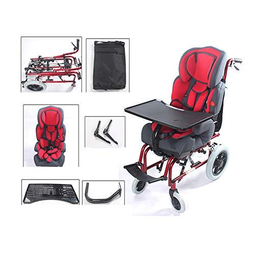 LXYSB Silla de Ruedas de Aluminio con Respaldo Alto y Mesa de Comedor Multifuncional Cuidado Conveniente Discapacidad Trolley Especial para niños Silla de Ruedas All Terrain Suave y cómoda,Rojo