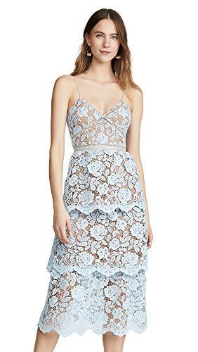 Self Portrait Women's Flower Lace Midi Tiered Dress, Light Blue, 0