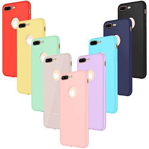 Leathlux 9 Coque Compatible avec iphone 8 Plus 5.5 Pouces Étui Silicone, Mince Souple TPU Housse Protection Gel Cover Case Rose, Vert, Violet, Bleu Ciel, Jaune, Rouge, Bleu Foncé, Translucide, Noir