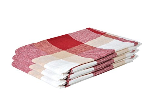 Lot de 3 torchons en coton Pasado (45 x 65 cm) rouge à carreaux avec languette de suspension