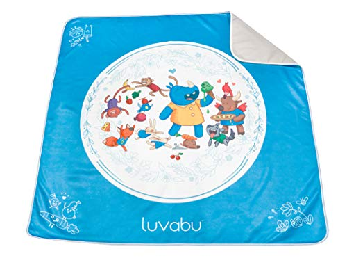 Luvabu Splat Mat for Under Highchair - Washable Waterproof Floor Protector Antislip - Portable Play Covering for Arts and Crafts and Table Cover for Feeding Baby - Food Party Edition, 51