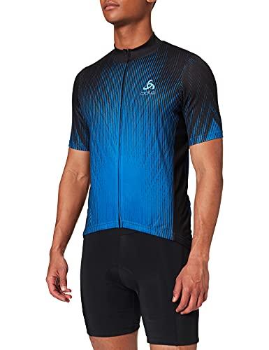 Odlo Camiseta de Manga Larga para Hombre con Cuello Alto S/S Full Zip Element Print, Hombre, Camiseta, 411612, Negro - Nebulas Azul, Medium