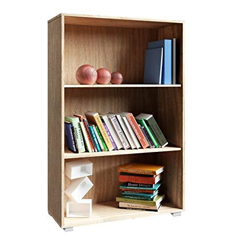 Deuba Bücherregal Vela 3 Fächer 115 x 60 x 31 cm Holz Modern Ordner Bücher Standregal Wohnzimmer Kinderzimmer Büro Eiche