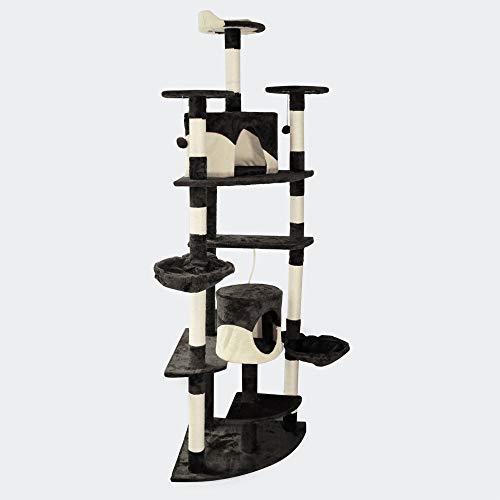 Albero angolare tiragraffi per gatti nero/bianco con ripiani amache palline da gioco