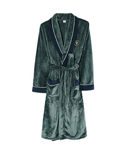 GYPPG Bata camisón para Hombre Otoño e Invierno Engrosamiento y alargamiento de Franela de Talla Grande Albornoz japonés Invierno Coral Polar Pijama cálido