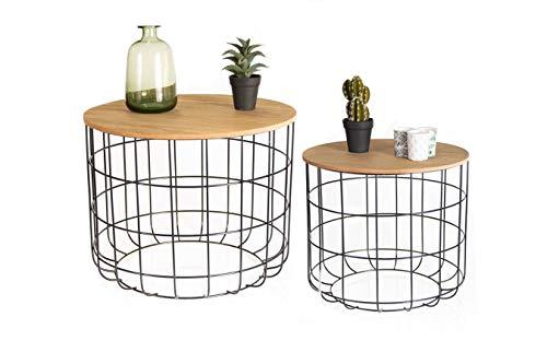LIFA LIVING Runde Couchtische im 2er Set, 2 Beistelltische aus schwarzem Metall und MDF-Holz, Vintage-Stil & Industrie-Stil mit Korbfunktion, bis zu 20kg Belastbarkeit, 40 x 36 cm, Ø 50 x 40 cm