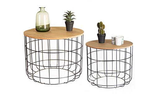 LIFA LIVING Set of 2 Side Tables with Storage for Living Room, pre-assembled Round Occasional Coffee & Nesting End Tables for Small Spaces, Metal Basket & Removable Wooden Top, 20 kg Capacity