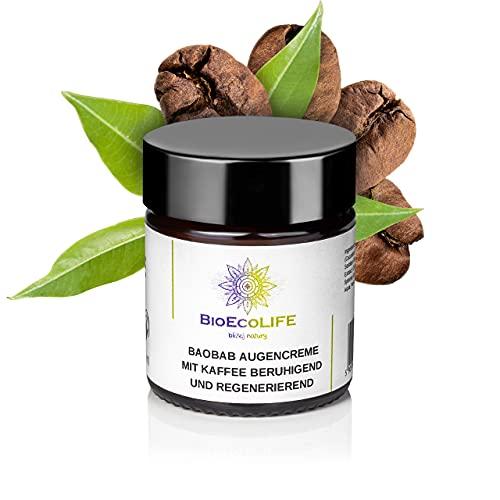 Crema calmante y regeneradora para los ojos con café, 30 ml, vegana, extracto de pan de mono, para pieles sensibles de alrededor de los ojos