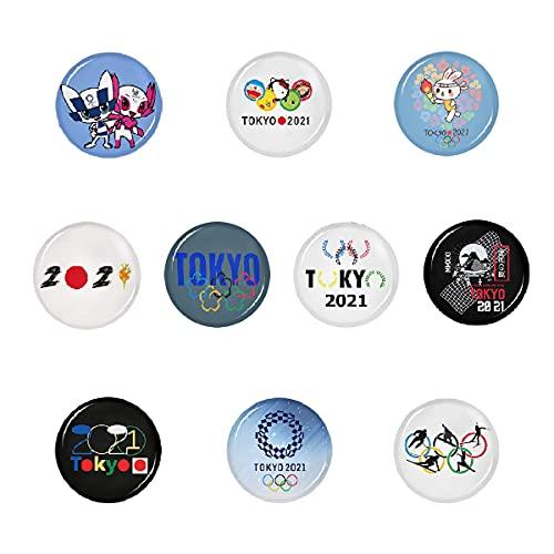 Tokyo Olympics 2021 - Insignia redonda con botones para decoración premium para bolsas de sombreros para adultos 10 piezas para fiesta de 3,8 cm