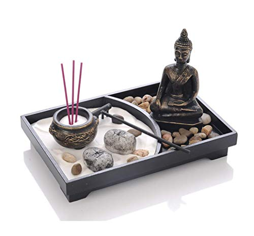 UgyDuky Tabletop Zen Garden with Buddha, Rake, Sand, Rock Candle, Rock Garden, and Incense Holder ¨C Peace and Tranquility - for Home Decor Gift, Med