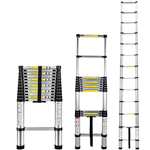 4.5M Escalera Telescópica Aluminio Multiusos Portátil Escalera Plegable para Trabajo en Interiores y Exteriores (4.5M)