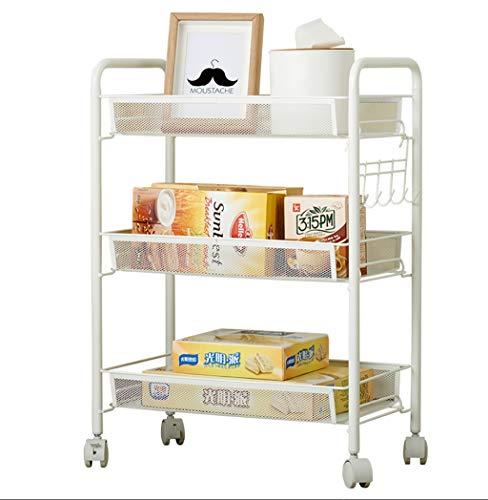 Lw Shelf Carro de cocina con ruedas para ahorrar espacio, 3 niveles, 63 x 45 x 26 cm, material: acero al carbono, color blanco, carga máxima: 20 kg por cesta.
