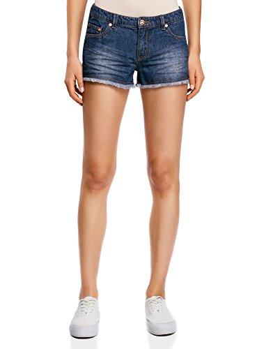 oodji Ultra Mujer Pantalones Cortos Vaqueros con Flecos, Azul, ES 40 / M