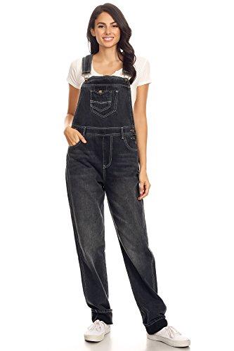 Anna-Kaci Frauen Denim Klassisch Jeans Gerades Bein Taschen Jeanshose Latzhose, Large / X-Large, Schwarz