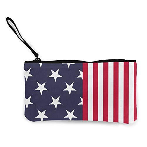Moneda de lona, bolso de la bandera americana con cremallera, bolsa de cosméticos de viaje multifunción, bolsa de maquillaje para teléfono móvil, paquete de lápices con asa