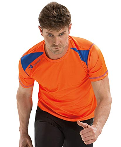ASIOKA 182/17 Camiseta de Running técnica combinada Unisex para Adultos de m/Corta, Naranja/Royal, L