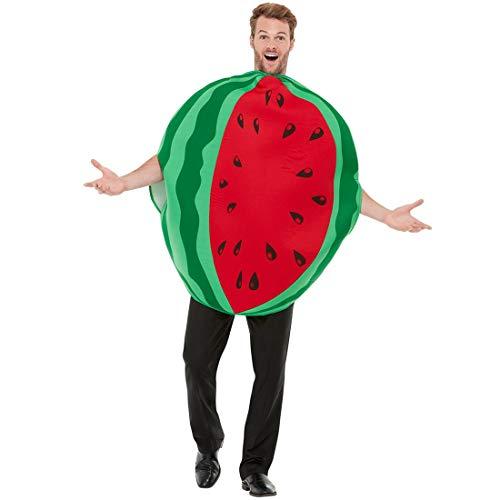 Amakando Cmico Disfraz de meln para Adulto/Verde-Rojo/Disfraz de Fruta para Dama y Caballero/El Punto Alto para Festival y Fiesta temtica