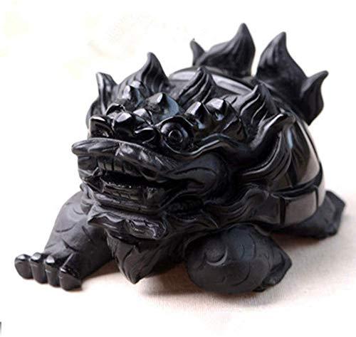 Escultura,Chino Feng Shui Obsidiana Dragón Tortuga Estatua Decoración para El Hogar Símbolo Longevidad Mejor Regalo De Felicitación De Inauguración Adornos De Feng Shui Estatuas En Miniatura