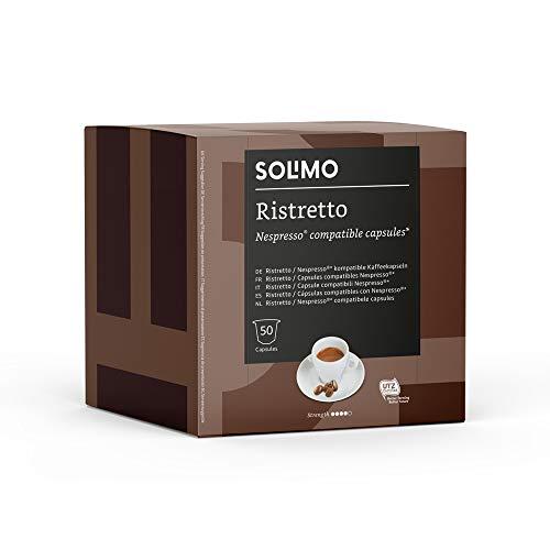 Marca Amazon - Solimo Nespresso Compatible Ristretto Cápsulas- Certificada UTZ - 100 Cápsulas (2 Paquetes x 50)