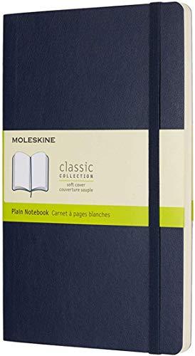 Moleskine - Cuaderno Clásico con Páginas Lisas, Tapa Blanda y Goma Elástica, Azul (Sapphire Blue), Tamaño Grande, 192 Páginas