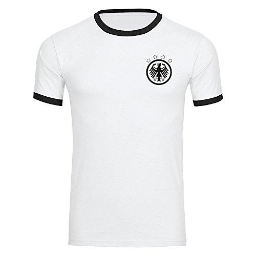 VIMAVERTRIEB Herren T-Shirt Deutschland Adler Retro Trikot weiß/schwarz - Männer Fanshirt Fanartikel Fanshop Fußball EM WM Germany, Größe:XXL,Farbe:weiß/schwarz