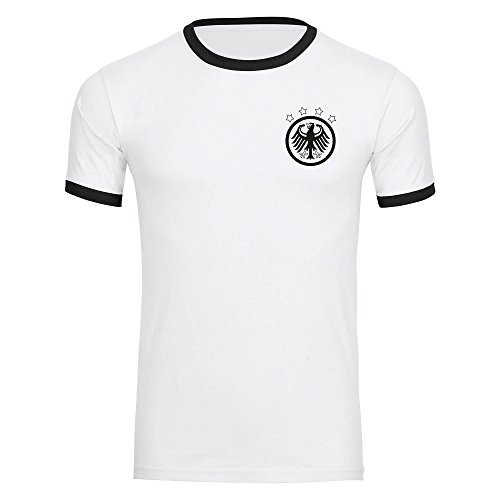 T-Shirt Deutschland Adler Retro Trikot Herren weiß/schwarz Gr. S - 3XL - Fanshirt Fanartikel Fanshop Trikot Fußball EM WM Germany,Größe:M,Farbe:weiß/schwarz