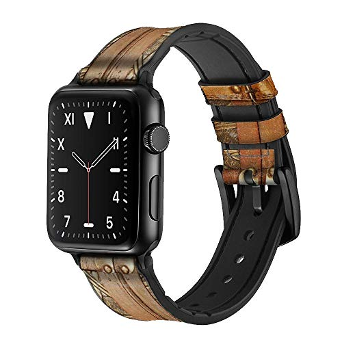 Treasure Chest Leather & Silicone Smart Watch Band Strap For Apple Watch iWatch Size 42mm/44mm