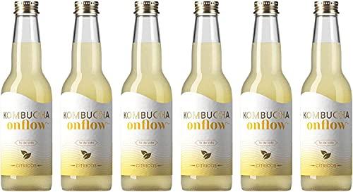 Onflow Té Kombucha en Base a SCOBY, Sabor a Cítricos, Bebida Vegana, Ecológica y Orgánica, Elimina Toxinas, Elaborado en España, Pack de 6 x 33 cl