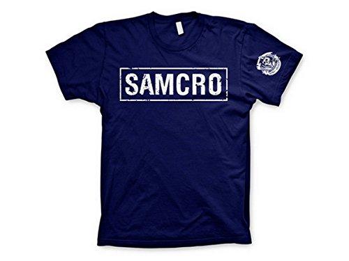 Samcro Distressed T-Shirt für Herren, offizieller Merchandise-Artikel Gr. 56, navy