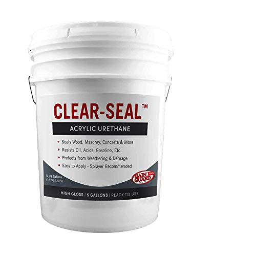 Rain Guard Water Sealers CU- 0105 Seal Acrylic Urethane Coating High Gloss 5 gal (Ready to Use), Clear