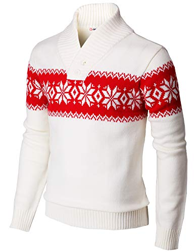 H2H Mens One Button Pointed Shawl Collar Knitted Slim Fit Pullover Sweater WHITERED US S/Asia M (KMOSWL0102)