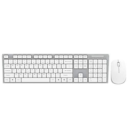 Yang1mn Ratón inalámbrico y Conjunto de Teclado Matte Keyboard Mute Button Desktop Hootebook Office Set (Color : White)