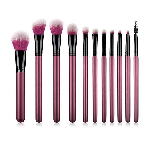 11 pinceaux de maquillage nouveaux outils de beauté haut de gamme poignée rouge violet blanc