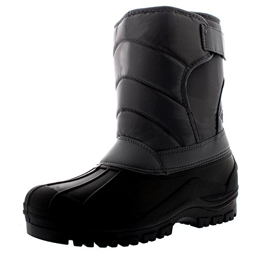POLAR Mens Quilted Thermal Nylon Mucker Single Strap Hiking Stable Snow Boots - Gray - US12/EU45 - YC0339