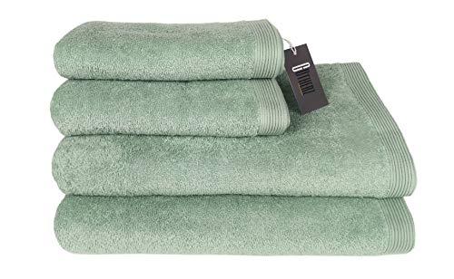 Gutherz Handtuch Set Deluxe Duschtücher Badetücher Handtücher 100% Baumwolle Badetuch Gäste Handtuch Set grau duschhandtuch 70x140 (Green Mint, 4er Set 2X Duschtuch (70x140) 2X Handtuch (50x90))